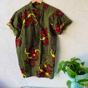 vintage 90s African wax print button up popover